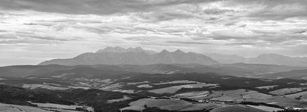 Panoramic black-white view on Tatra Mountains Royalty Free Stock Image