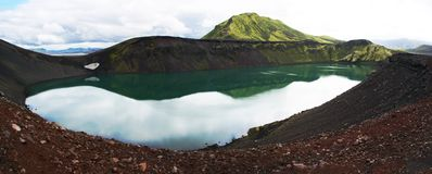 Panoramic of the Blahylur crater lake near to Landmannalaugar in the Fjallabak Nature Reserve in the Highlands of Iceland royalty free stock image