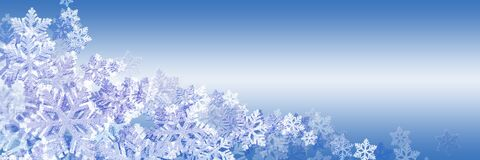 Free Panoramic Blue Christmas Background With Beautiful Snowflakes. Space For Text, Copy-space Stock Image - 199396881
