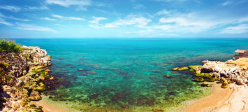 Panoramic blue lagoon Royalty Free Stock Photography