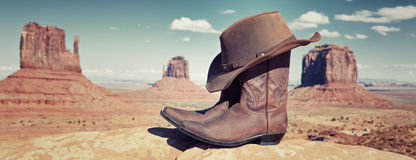 Panoramic boots and hat Stock Photo