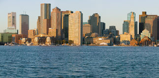 Panoramic of Boston Harbor and the Boston skyline at sunrise as seen from South Boston, Massachusetts, New England Stock Image