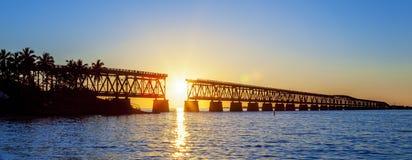 Panoramic broken bridge Stock Images