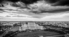 Panoramic Bucharest city skyline in Romania, black and white ver. Sion. Aerial photography Royalty Free Stock Photos