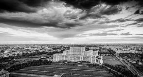 Panoramic Bucharest city skyline in Romania, black and white ver. Sion with the main tourist attraction Stock Images
