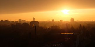Panoramic Bucharest skyline seen from Pipera Royalty Free Stock Photography