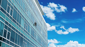 Panoramic Building Facade with one opened Window, with blue sky and white clouds Royalty Free Stock Photos