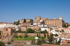 Panoramic of Caceres monumental dowtown Royalty Free Stock Photography