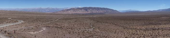 Panoramic - Cactus forest, colored mountain chain and road royalty free stock image