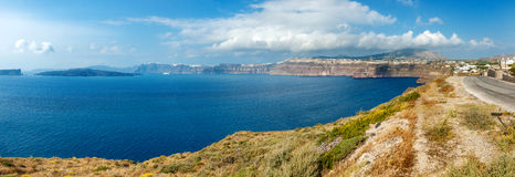 Panoramic caldera view on Santorini Stock Photography