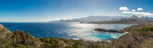 Panoramic of Calvi citadel and mountains from Revellata in Corsi Royalty Free Stock Image