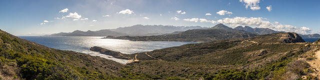 Panoramic of Calvi citadel and mountains from Revellata in Corsi Royalty Free Stock Photos