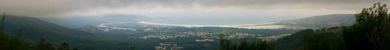Panoramic Carnota Beach royalty free stock photography