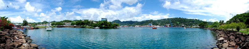 Panoramic Castries, Caribbean St. Lucia Capital. A panorama view of Castries, St. Lucia from Point Seraphine in the Caribbean royalty free stock photos