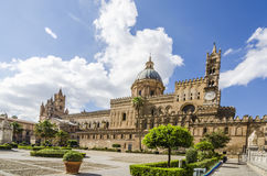 Panoramic of the cathedral of Palermo Sicily. Panoramica of the main facade of the cathedral of Palermo Sicily Stock Photography