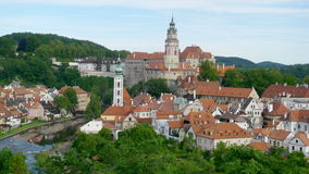 Panoramic  of Cesky Krumlov in Czech. Republic , which consist of beautiful red roof houses and green trees Stock Images