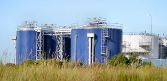 Panoramic of chemical storage tanks Royalty Free Stock Images