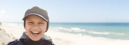 Panoramic  child closeup happy smile portrait outdoor Royalty Free Stock Photography