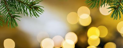 Panoramic Christmas background. With detail of Christmas twig royalty free stock photography