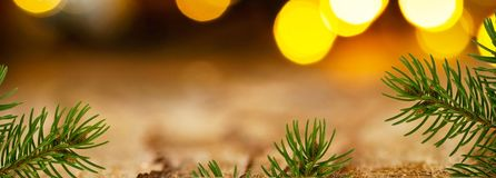 Panoramic Christmas background. With detail of Christmas twig stock photo