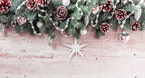 Panoramic Christmas background with pine cones Stock Photo