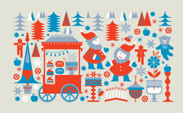 Panoramic Christmas market composition Royalty Free Stock Photos