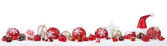 Panoramic christmas ornaments royalty free stock image