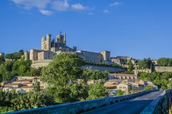 Panoramic of the city of Beziers France. On the banks of the river Orb in the French region of the Languedoc is erected one the oldest cities of Europe, Beziers Stock Image