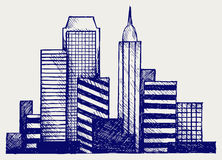 Panoramic city. Doodle style Royalty Free Stock Photography