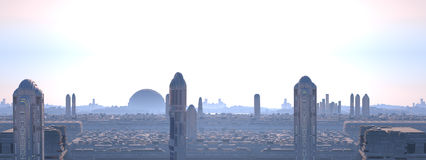Panoramic city futuristic Royalty Free Stock Images