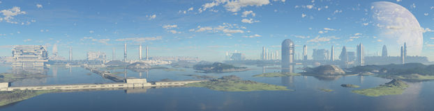 Panoramic city futuristic. Panoramic view of a technologically advanced future city royalty free stock photo