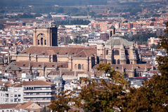 Panoramic city of Granada (Spain). Where the cathedral is Royalty Free Stock Photography