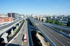 Panoramic city overpass Royalty Free Stock Image