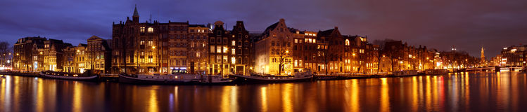 Panoramic city scenic from Amsterdam Netherlands Royalty Free Stock Photos