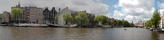 Panoramic city scenic in Amsterdam the Netherlands Royalty Free Stock Images
