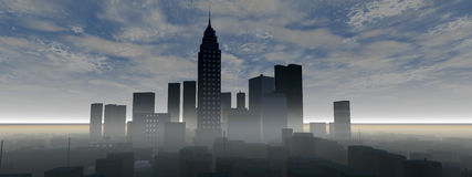 Panoramic city skyline Royalty Free Stock Photography