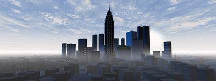 Panoramic city skyline Royalty Free Stock Image