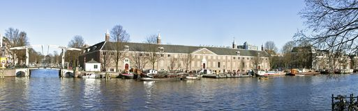 Panoramic city view in Amsterdam Netherlands. Panoramic city view with the Hermitage in Amsterdam the Netherlands Stock Photo