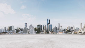 Panoramic city view with empty concrete floor Royalty Free Stock Image