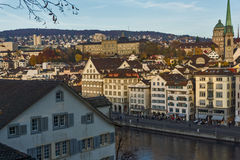 Panoramic of city of Zurich and Limmat River, Switzerland Royalty Free Stock Images