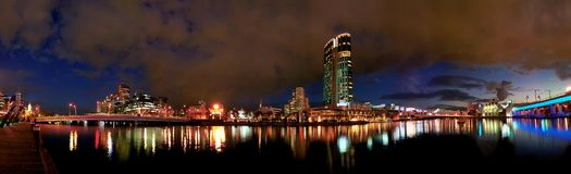 Panoramic cityscape. At dusk, Southbank, Melbourne, Australia Stock Photography