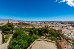 Panoramic cityscape of Almeria with the walls of Alcazaba (Castle). Spain Stock Images