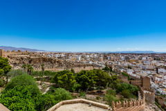 Panoramic cityscape of Almeria with the walls of Alcazaba (Castle). Spain Royalty Free Stock Photography