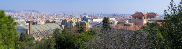 Panoramic cityscape of Barcelona from Montjuic Hill, Spain Royalty Free Stock Photography