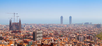 Panoramic cityscape of Barcelona, Spain Stock Photo