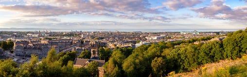 Edinburgh cityscape panorama Scotland UK. Panoramic cityscape of Edinburgh, the capital city of Scotland as viewed from the Arthurs Seat hill Stock Photography