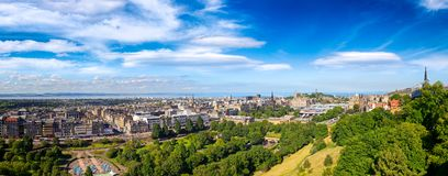 Edinburgh cityscape panorama Scotland UK. Panoramic cityscape of Edinburgh, the capital city of Scotland as viewed from the Edinburgh Castle in August of 2012 Stock Images