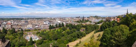 Edinburgh cityscape panorama Scotland UK. Panoramic cityscape of Edinburgh, the capital city of Scotland as viewed from the Edinburgh Castle in August of 2012 Royalty Free Stock Image
