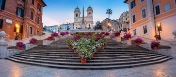 City of Rome. Panoramic cityscape image of Spanish Steps in Rome, Italy during sunrise stock image