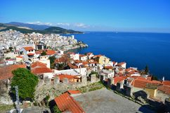 Panoramic cityscape  of Kavala,Greece from above. Kavala Greece view from above with blue sea Stock Images